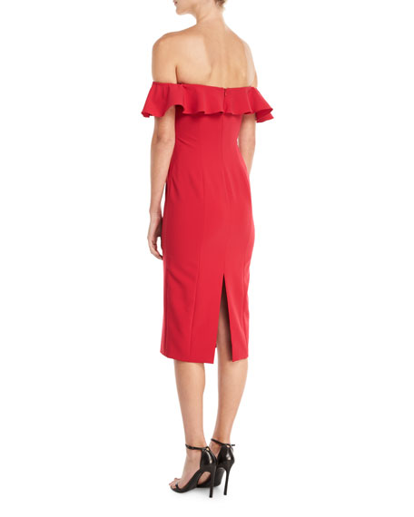 Rollins Off-the-Shoulder Ruffle Cocktail Dress
