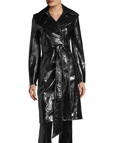 Pleasure Patent Leather Belted Trench Coat