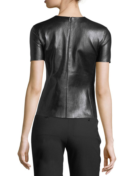 Crewneck Short-Sleeve Leather T-Shirt