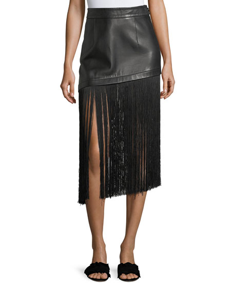 Helmut Lang A-Line Leather Mini Skirt with Long