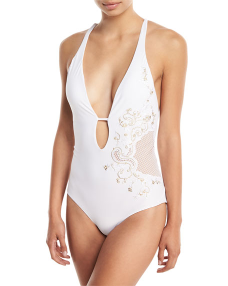 Ornamental Plunging Solid One-Piece Swimsuit with Embroidery