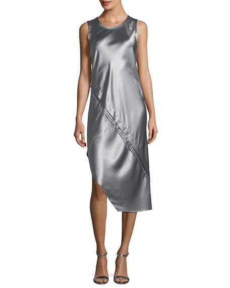 Crewneck Sleeveless Lacquered Silk Tank Dress