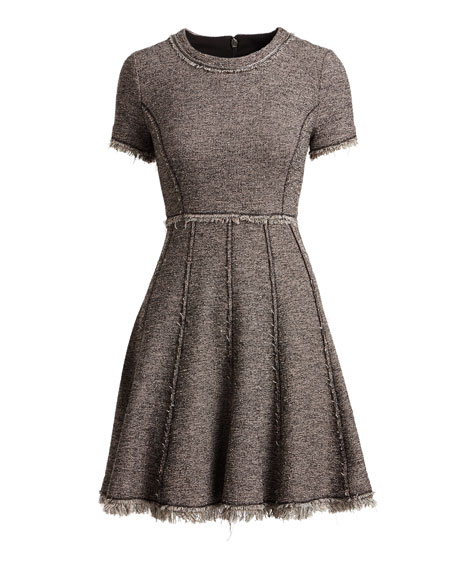 Crewneck Short-Sleeve Tweed Short Dress
