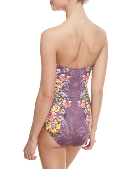 Elegance Bandeau Floral-Print One-Piece Swimsuit