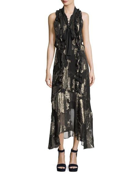A.L.C. Harriet Sleeveless Tie-Neck Silk Metallic Long Dress