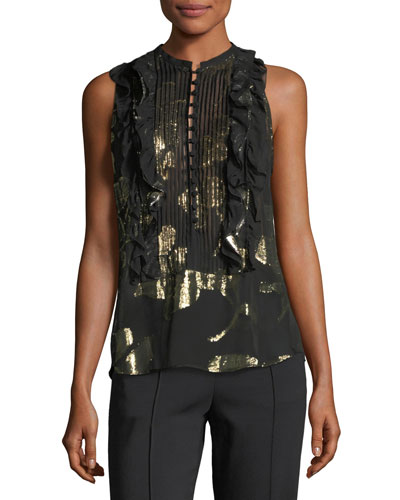 Tomei Sleeveless Chiffon Top w/ Metallic