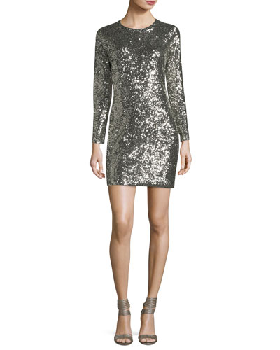 Aliya Sequin Crewneck Long-Sleeve Fitted Mini Dress