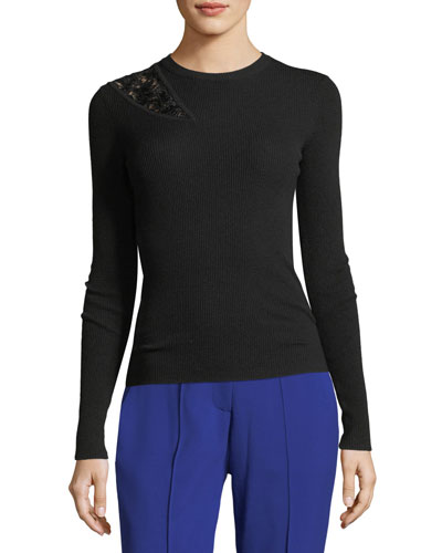 Terence Rib-Knit Long-Sleeve Wool Sweater