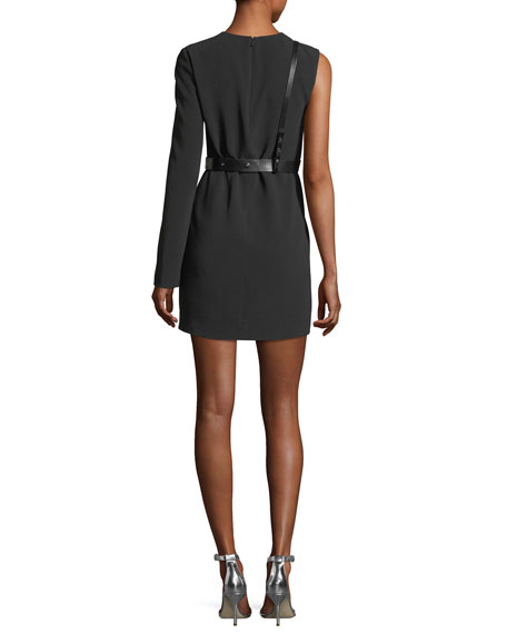 Harness One-Sleeve Crepe Mini Dress
