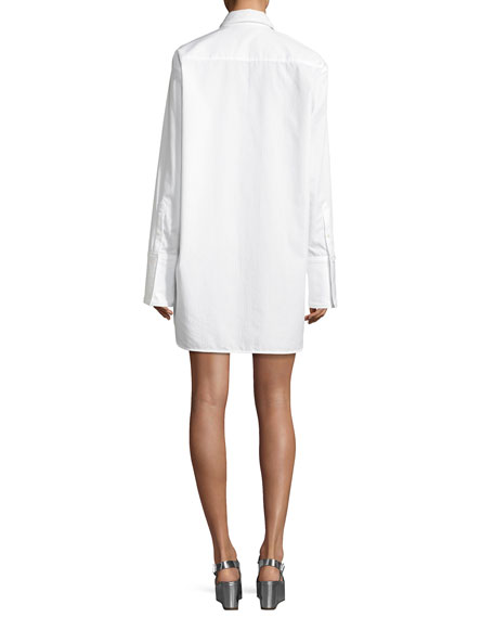Oversized Button-Front Long-Sleeve Poplin Shirtdress