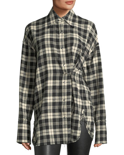 Safety-Pin Snap-Front Plaid Cotton Shirt