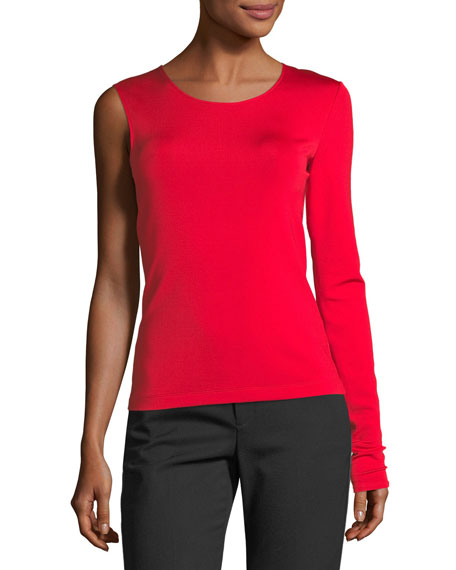 Crewneck One-Sleeve Fitted Top