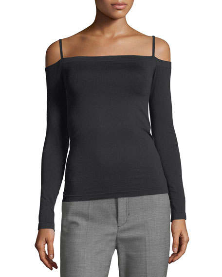Off-the-Shoulder Long-Sleeve Seamless Top