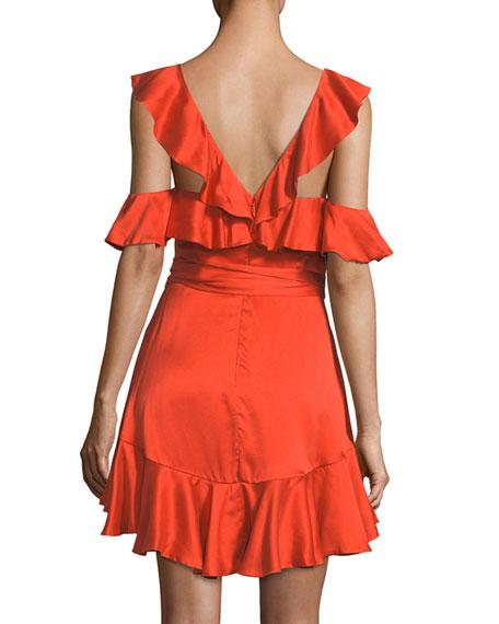 Deep-V Sleeveless Ruffled Short Dress