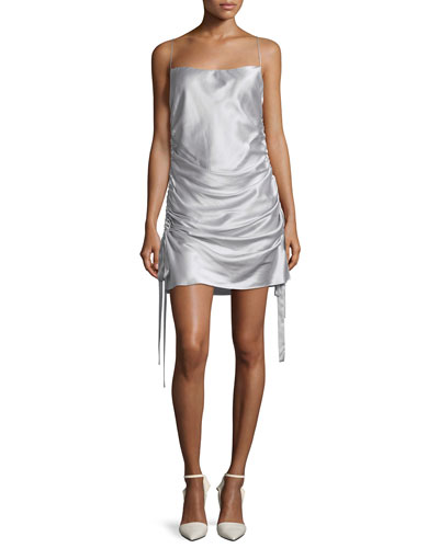 Square-Neck Ruched Mini Silk Satin Slip Dress