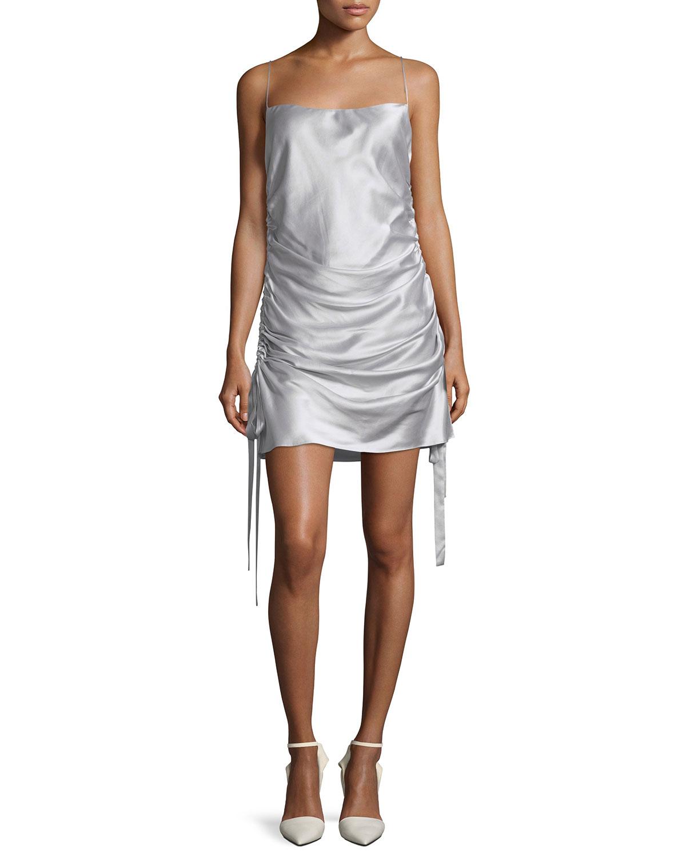 ebc1b5c58694 Zimmermann Square-Neck Ruched Mini Silk Satin Slip Dress | Neiman Marcus