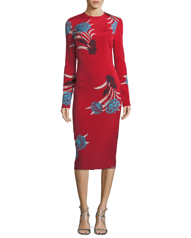 299832ec3b1 Diane von Furstenberg Tailored Long-Sleeve Floral Sheath Dress ...