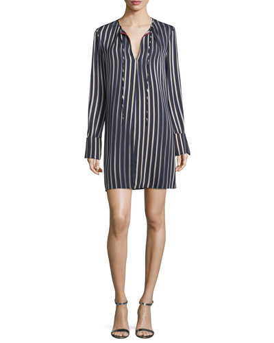Striped Long-Sleeve Keyhole Dress
