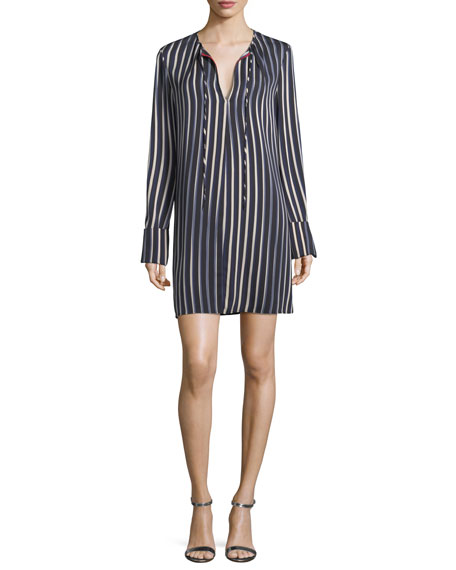 Diane von Furstenberg Striped Long-Sleeve Keyhole Dress