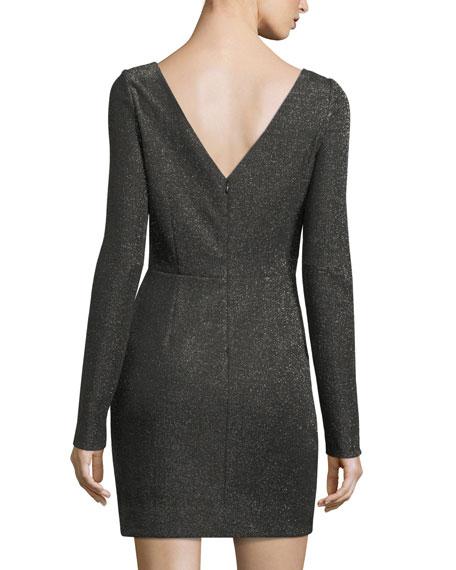 Long-Sleeve Metallic-Knit Mini Dress
