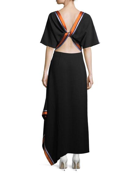 Open-Back Ribbon-Trim Dress