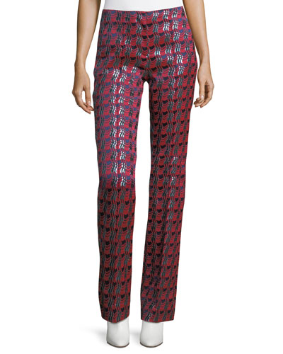 Woven Metallic Pleat-Front Pants