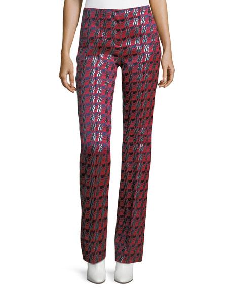 Diane von Furstenberg Woven Metallic Pleat-Front Pants