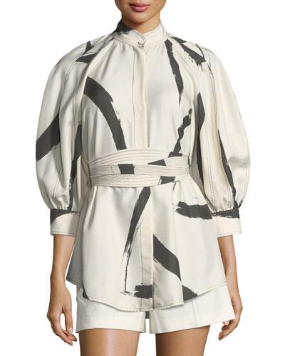 Painted-Heart Button-Front Silk Shirt