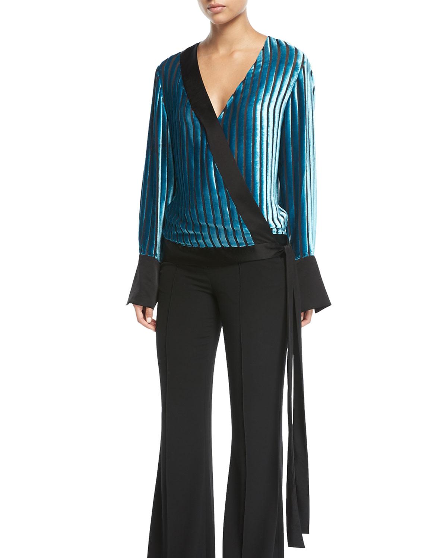 e5422fc1291ded Diane von Furstenberg Long-Sleeve Crossover Velvet Blouse
