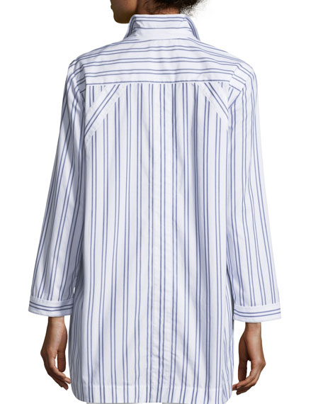 Marla Basilica Striped Placket-Front Blouse