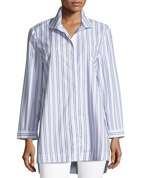 Lafayette 148  MARLA BASILICA STRIPED PLACKET-FRONT BLOUSE