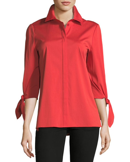 Liv Tie-Cuff Stretch-Cotton Blouse