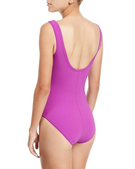 Savile Scoop-Neck One-Piece Swimsuit with Underwire
