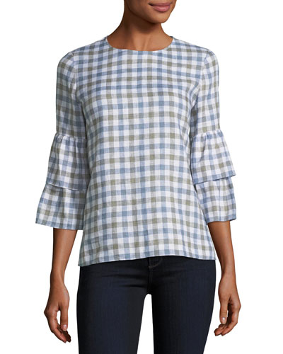 Linen Check Tiered-Sleeve Blouse