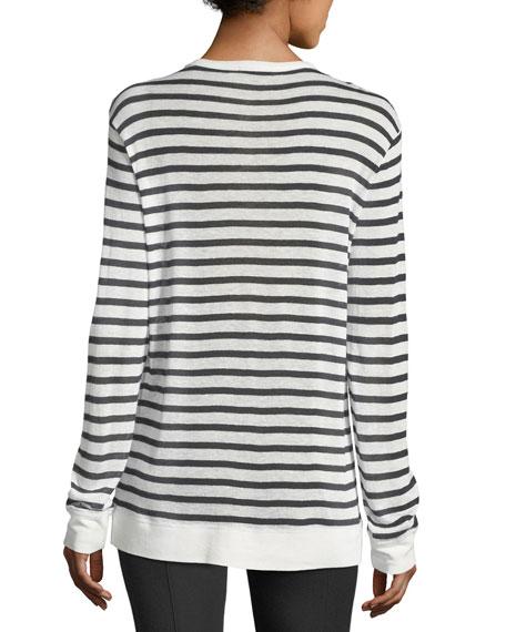 Striped Slub Jersey Long-Sleeve Tee