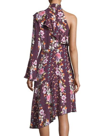 Rine Floral-Printed One-Shoulder Silk Dress