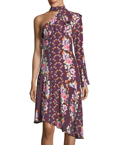 Rine Floral-Printed One-Shoulder Silk Dress