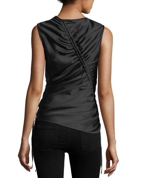 Asymmetric Drape Sleeveless Satin Top with Ruching