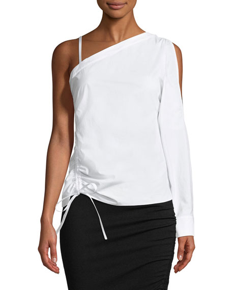 T by Alexander Wang One-Sleeve Asymmetric Ruched Top
