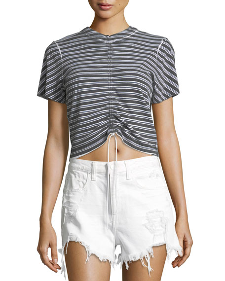T by Alexander Wang Short-Sleeve Striped Gathered-Front Tee