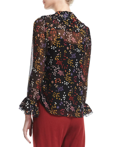 Ruffled Floral-Print Silk Top