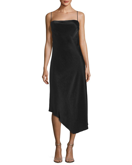Sirocco Asymmetric Spaghetti-Strap Slip Cocktail Dress