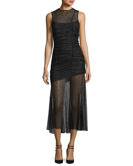 Camilla & Marc Plaza Lace Sheer Ruched Gown