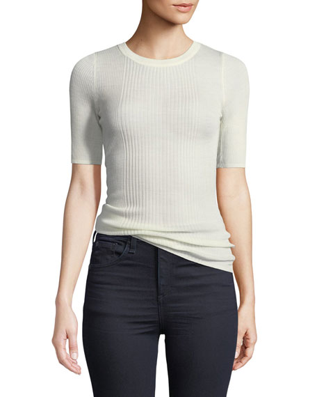 T by Alexander Wang Rib-Knit Short-Sleeve Top