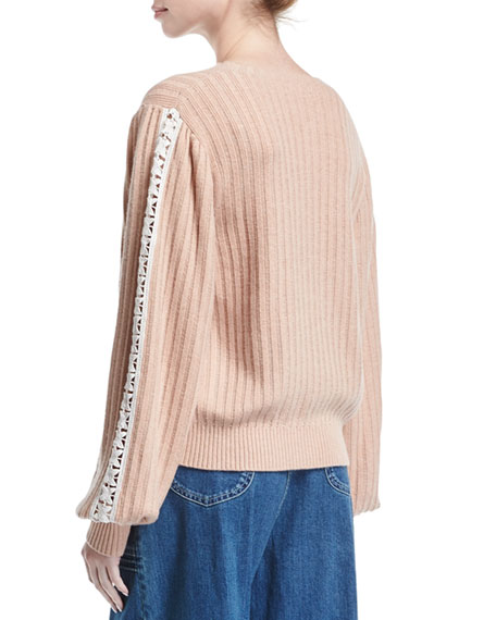 Ribbed Pullover Sweater w/ Lace-Trim Sleeves