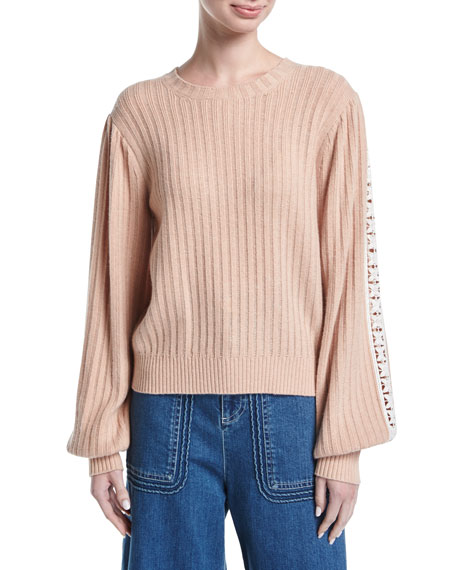See by Chloe Ribbed Pullover Sweater w/ Lace-Trim Sleeves