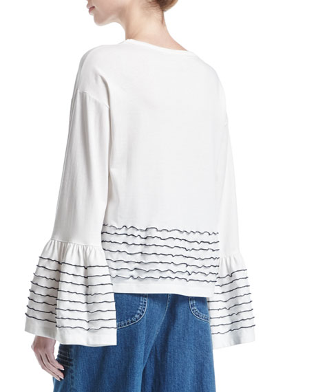 Ruffle-Trim Long-Sleeve Cotton Top