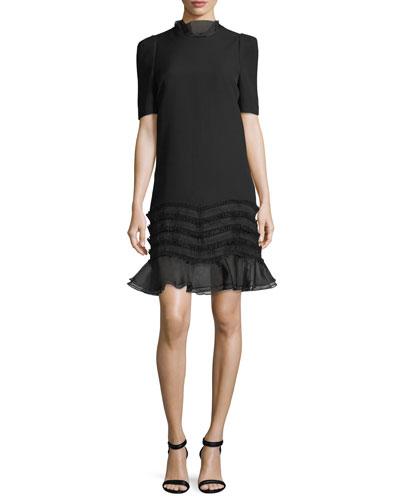 Melody Ruffle Trim Short-Sleeve Mini Dress