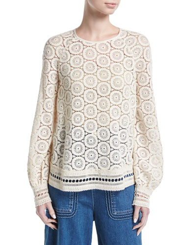 Cotton Medallion-Lace Top