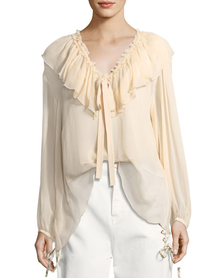 See by Chloe Silk Crepe Tie-Neck Top
